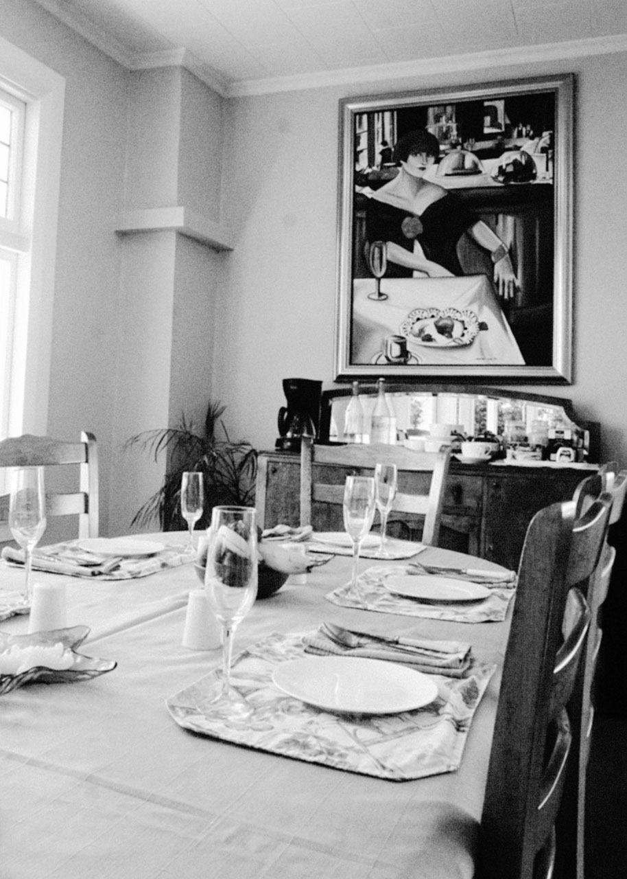 Dining table view close up in black and white